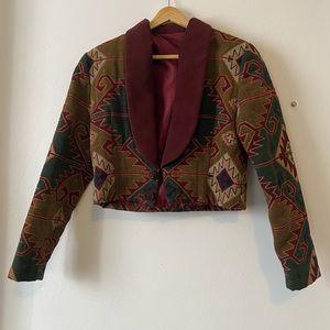 Vintage Aztec Crop Blazer Jacket